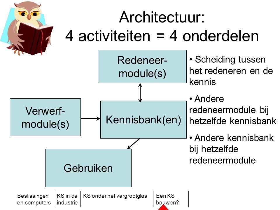Beslissingen en computers KS in de industrie KS onder het vergrootglasEen KS bouwen? Architectuur: 4 activiteiten = 4 onderdelen Redeneer- module(s) V