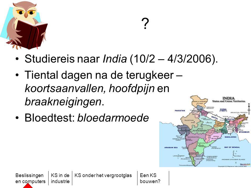 Beslissingen en computers KS in de industrie KS onder het vergrootglasEen KS bouwen? ? •Studiereis naar India (10/2 – 4/3/2006). •Tiental dagen na de