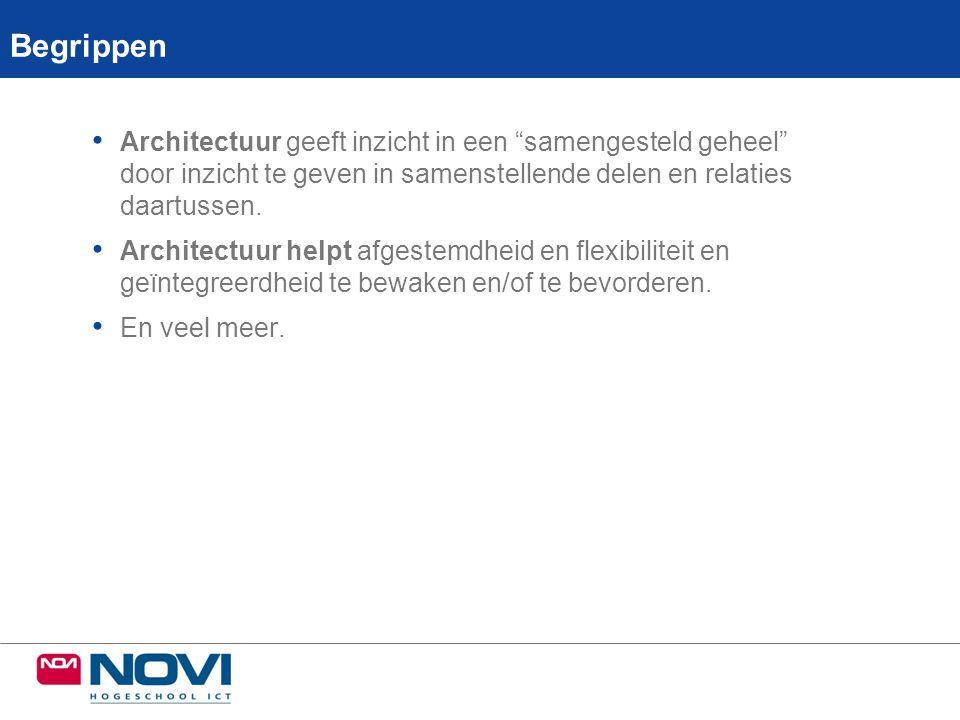 4 Aandachtspunten en valkuilen: Voorwaarden voor effectief samenwerken en besturing • Werken onder architectuur: • Waarover hebben we het.