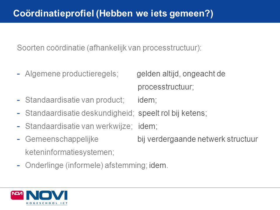 Soorten coördinatie (afhankelijk van processtructuur): - Algemene productieregels; gelden altijd, ongeacht de processtructuur; - Standaardisatie van p
