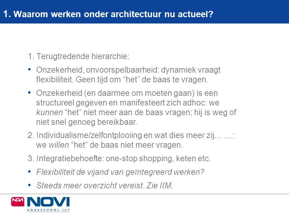 1. Waarom werken onder architectuur nu actueel? 1. Terugtredende hierarchie: • Onzekerheid, onvoorspelbaarheid: dynamiek vraagt flexibiliteit. Geen ti