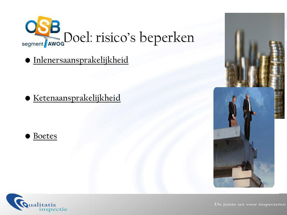Doel: risico's beperken • Inlenersaansprakelijkheid • Ketenaansprakelijkheid • Boetes