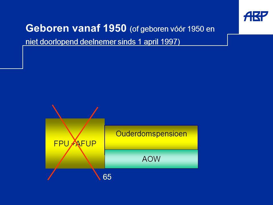 Geboren vanaf 1950 (of geboren vóór 1950 en niet doorlopend deelnemer sinds 1 april 1997) AOW FPU +AFUP 65 Ouderdomspensioen AOW