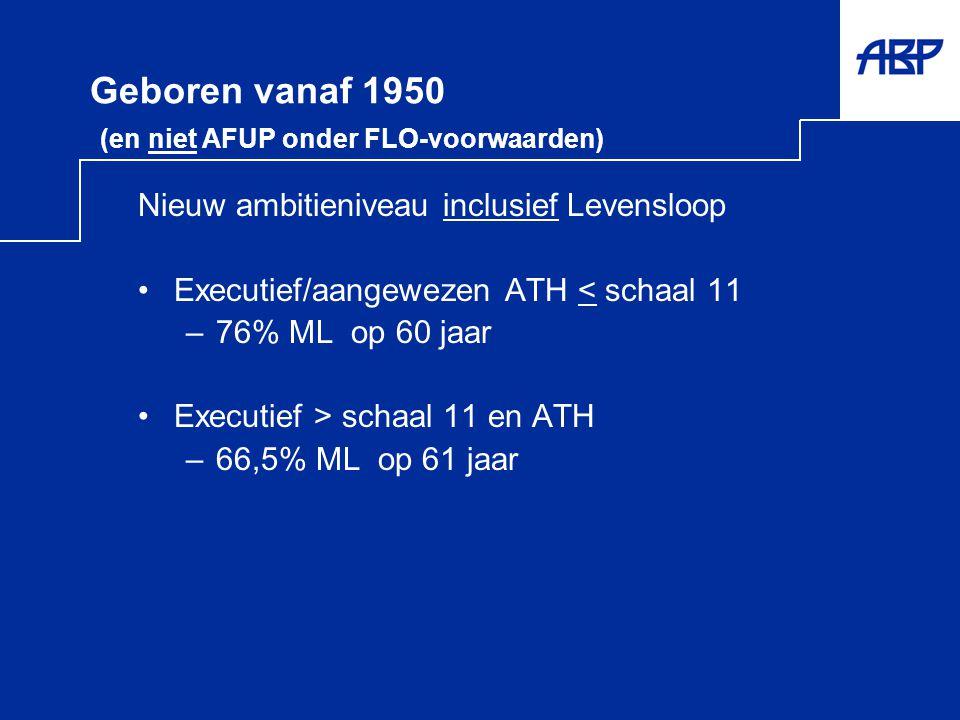 Geboren vanaf 1950 (en niet AFUP onder FLO-voorwaarden) Nieuw ambitieniveau inclusief Levensloop •Executief/aangewezen ATH < schaal 11 –76% ML op 60 j