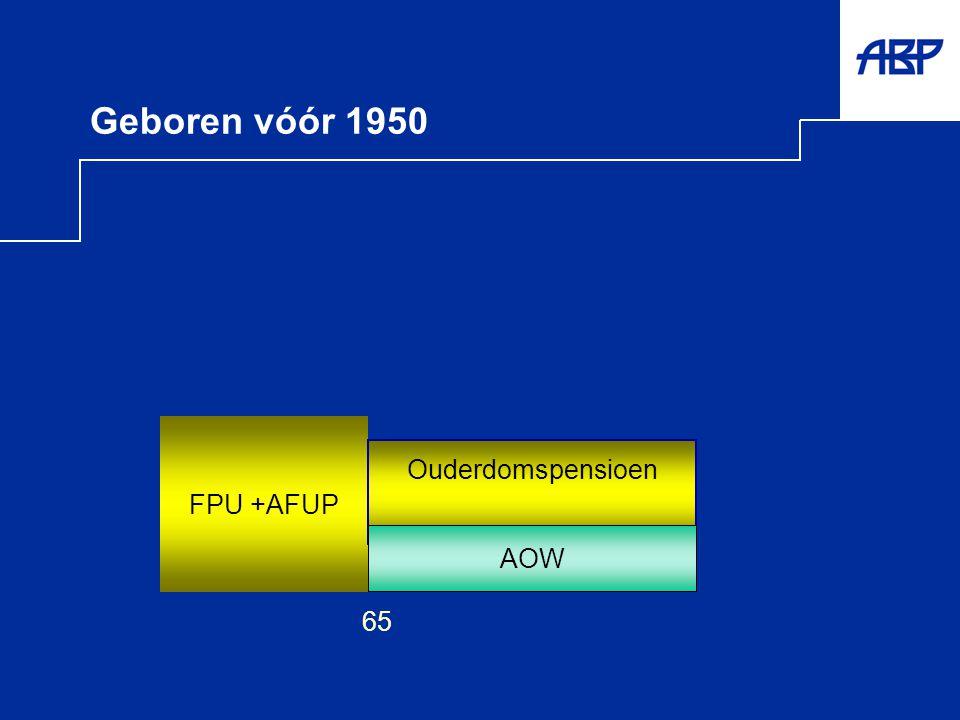 Geboren vóór 1950 AOW FPU +AFUP 65 Ouderdomspensioen AOW