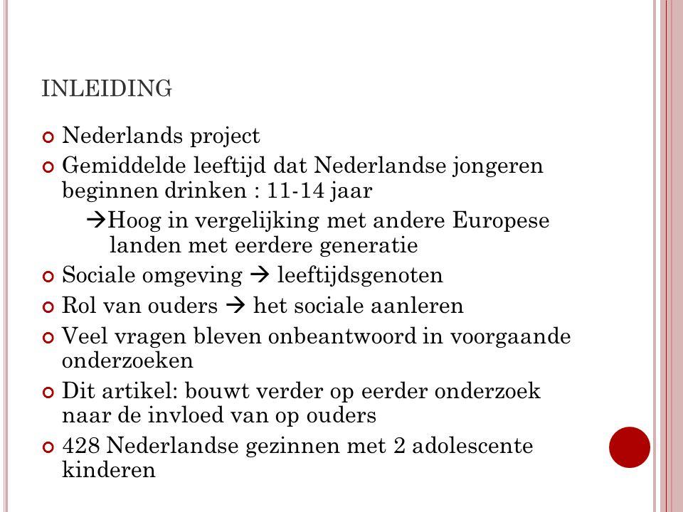INLEIDING Nederlands project Gemiddelde leeftijd dat Nederlandse jongeren beginnen drinken : 11-14 jaar  Hoog in vergelijking met andere Europese lan