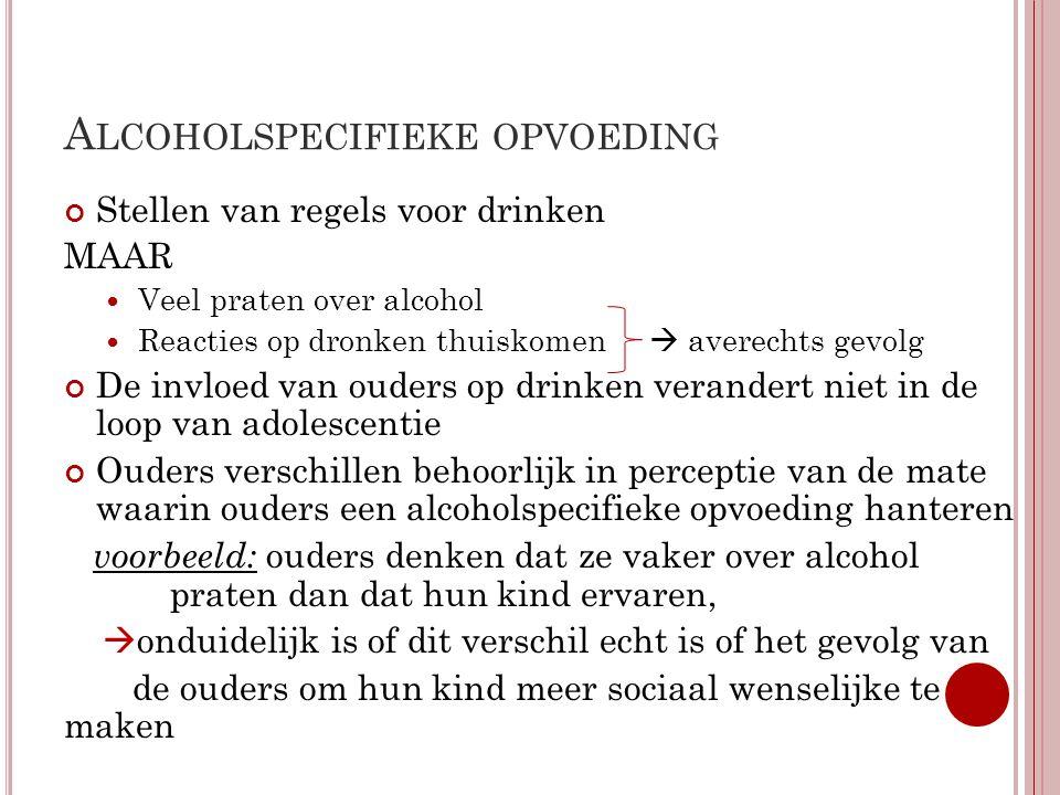 A LCOHOLSPECIFIEKE OPVOEDING Stellen van regels voor drinken MAAR  Veel praten over alcohol  Reacties op dronken thuiskomen  averechts gevolg De in