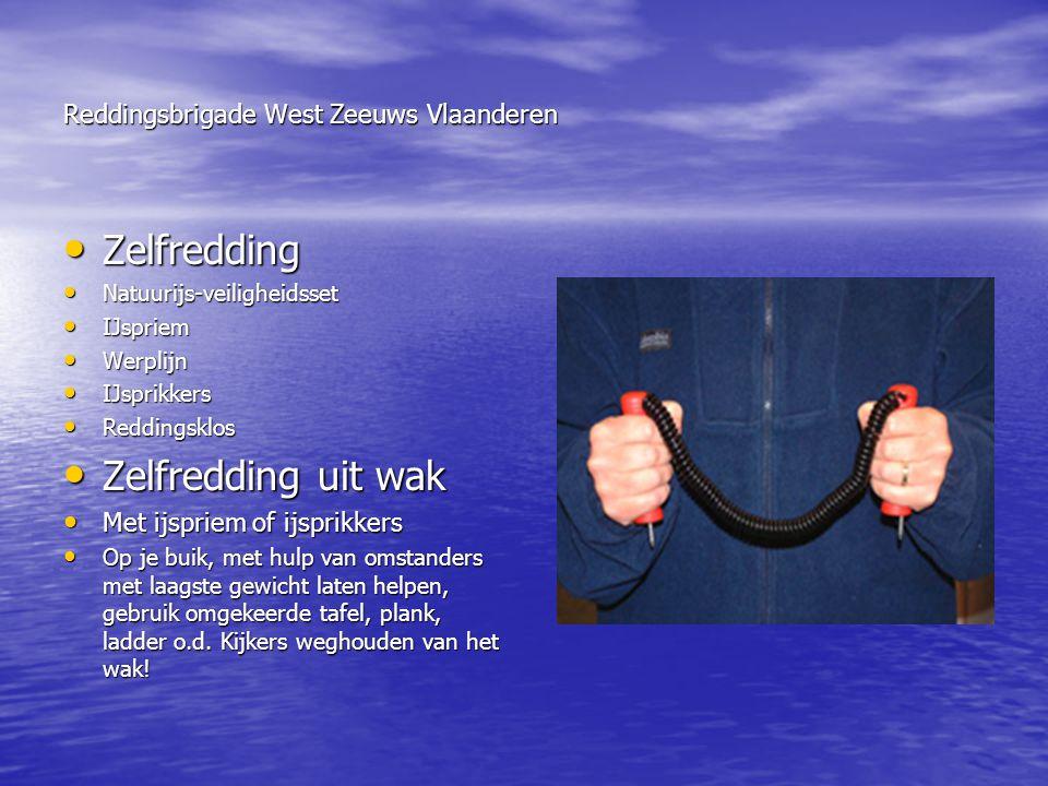 Reddingsbrigade West Zeeuws Vlaanderen • Zelfredding • Natuurijs-veiligheidsset • IJspriem • Werplijn • IJsprikkers • Reddingsklos • Zelfredding uit w