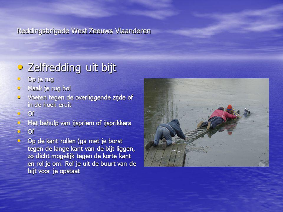Reddingsbrigade West Zeeuws Vlaanderen • Zelfredding uit bijt • Op je rug • Maak je rug hol • Voeten tegen de overliggende zijde of in de hoek eruit •