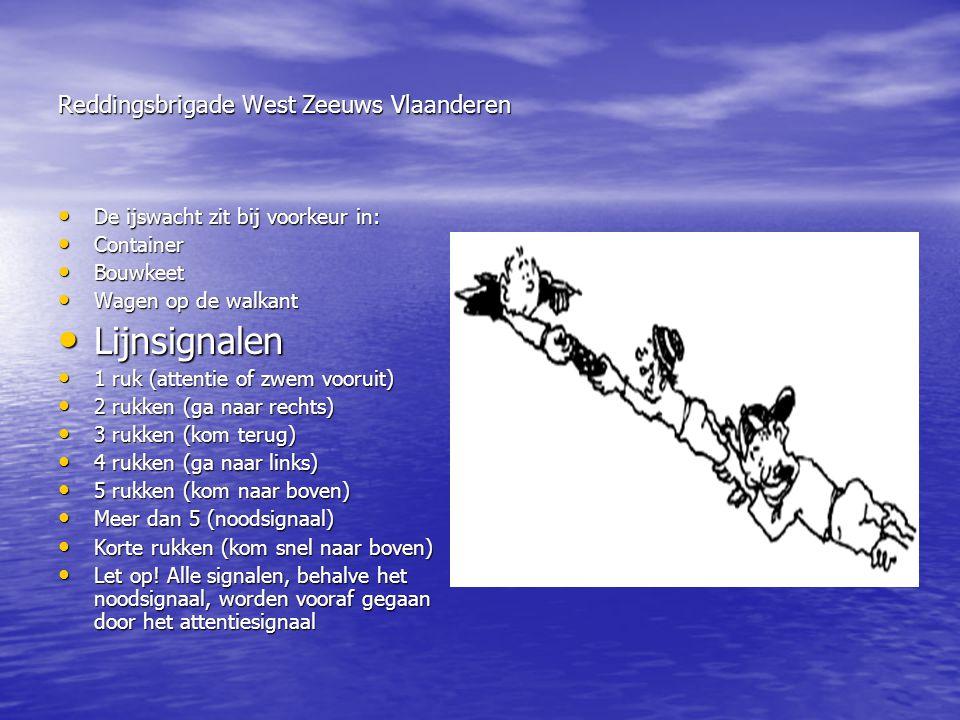 Reddingsbrigade West Zeeuws Vlaanderen • De ijswacht zit bij voorkeur in: • Container • Bouwkeet • Wagen op de walkant • Lijnsignalen • 1 ruk (attenti