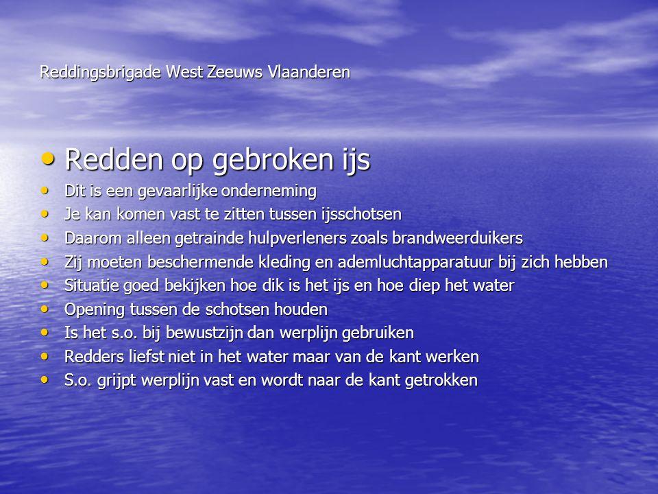 Reddingsbrigade West Zeeuws Vlaanderen • Redden op gebroken ijs • Dit is een gevaarlijke onderneming • Je kan komen vast te zitten tussen ijsschotsen