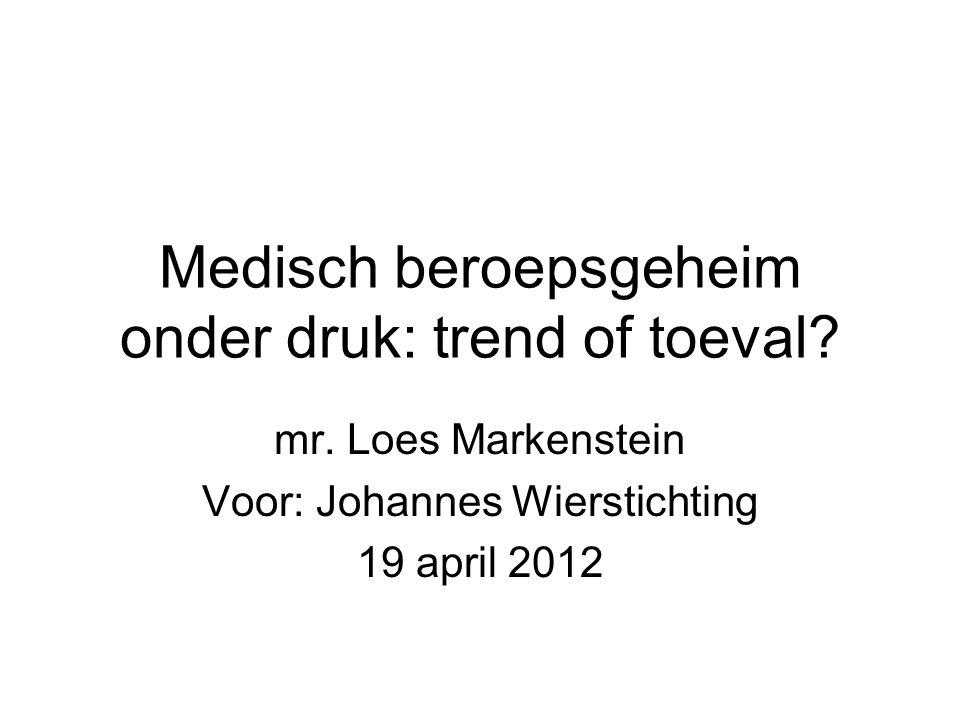 Medisch beroepsgeheim onder druk: trend of toeval? mr. Loes Markenstein Voor: Johannes Wierstichting 19 april 2012