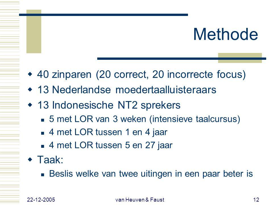 22-12-2005 van Heuven & Faust11 Methode  Basisprincipe als bij Ebing maar nu in NL  Kies welke voortzetting beter is  Paarsgewijs: 1 vs. 2; 3 vs. 4