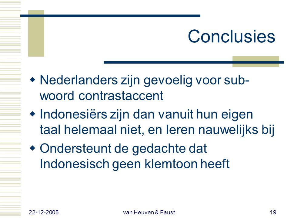 22-12-2005 van Heuven & Faust18 Resultaten 2  Nauwelijks leereffect  Lichte tendens om bij langere verblijfsduur in NL beter gebruik te maken van su