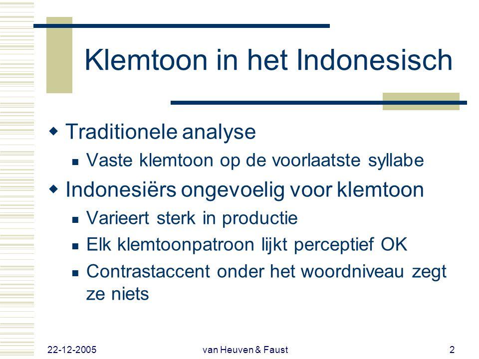 Zijn Indonesiërs ongevoelig voor contrastaccenten onder het woordniveau? Vincent J. van Heuven Vera Faust Leiden University Centre for Linguistics