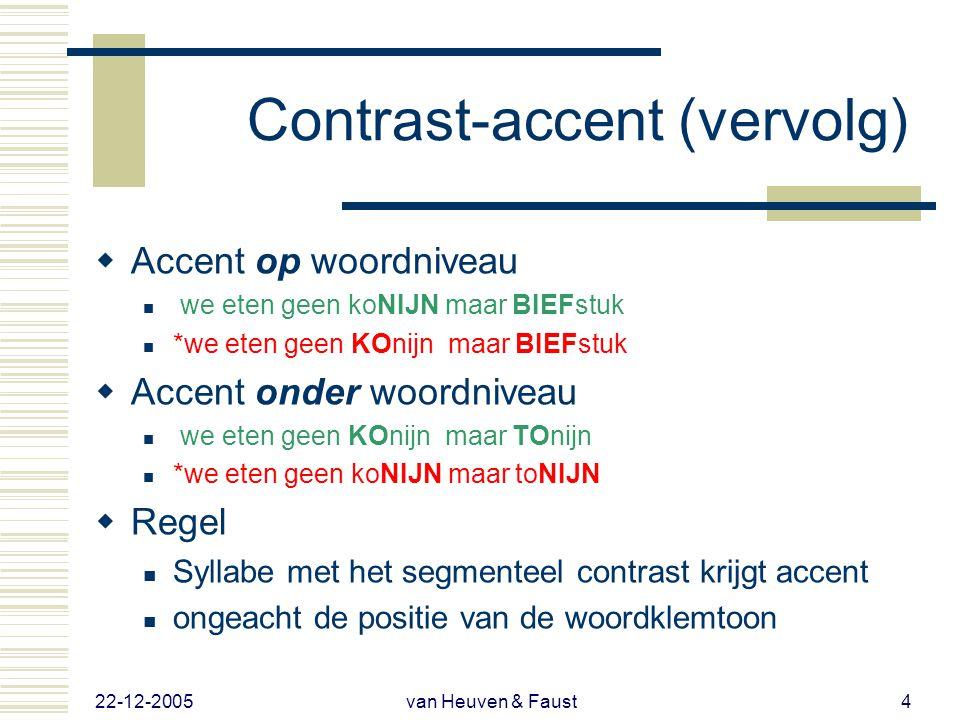 22-12-2005 van Heuven & Faust3 Contrast-accent in NL  Ik zie geen …  oude MAN maar een oude VROUW  *OUde man maar een OUde vrouw  OUde man maar ee
