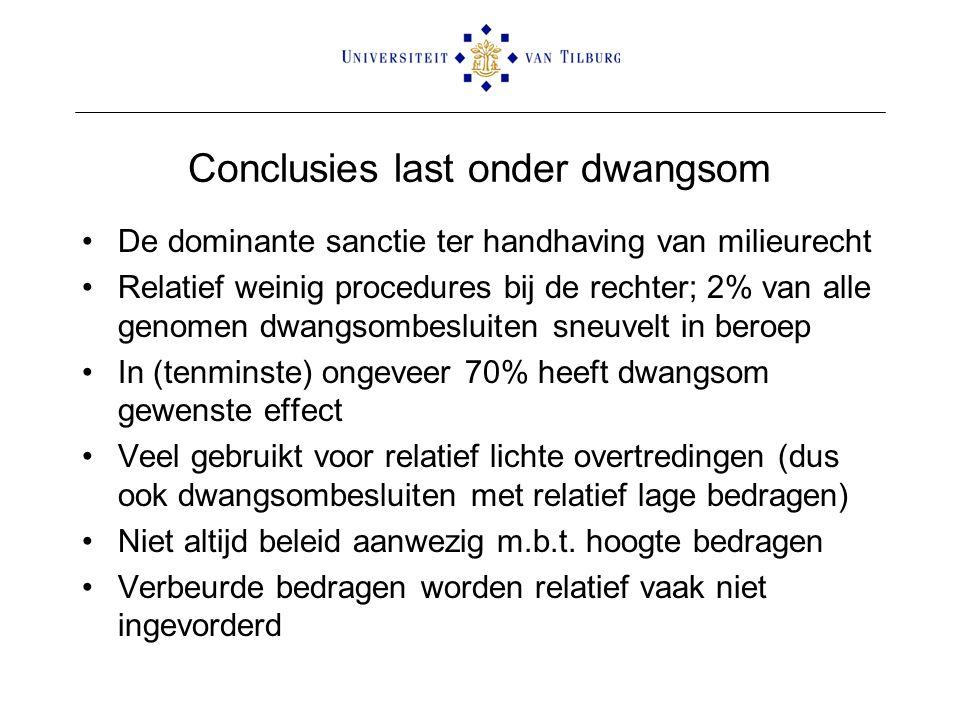 Conclusies last onder dwangsom •De dominante sanctie ter handhaving van milieurecht •Relatief weinig procedures bij de rechter; 2% van alle genomen dw