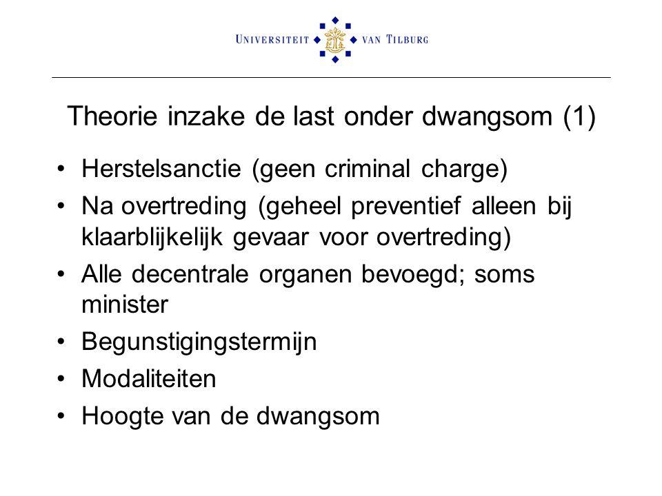 Theorie inzake de last onder dwangsom (1) •Herstelsanctie (geen criminal charge) •Na overtreding (geheel preventief alleen bij klaarblijkelijk gevaar
