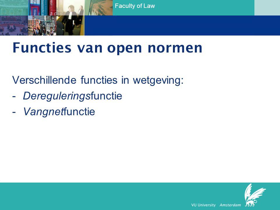 Faculty of Law Functies van open normen Verschillende functies in wetgeving: -Dereguleringsfunctie -Vangnetfunctie