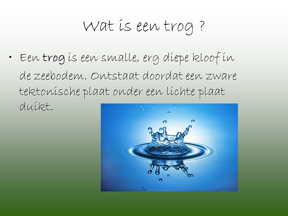 Wat is een trog ? •Een trog is een smalle, erg diepe kloof in de zeebodem. Ontstaat doordat een zware tektonische plaat onder een lichte plaat duikt.