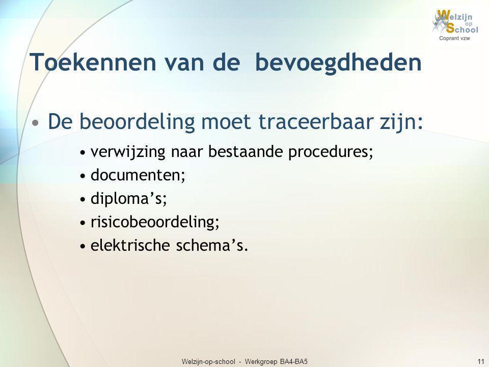 Welzijn-op-school - Werkgroep BA4-BA511 Toekennen van de bevoegdheden •De beoordeling moet traceerbaar zijn: •verwijzing naar bestaande procedures; •d