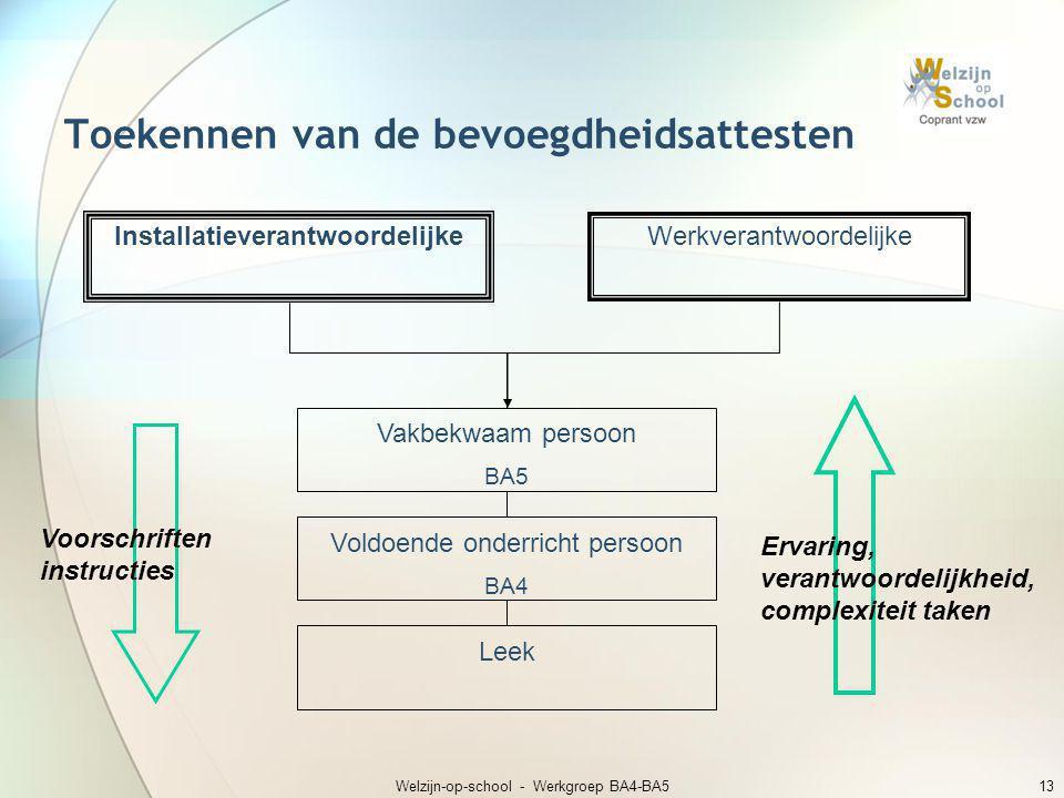 Welzijn-op-school - Werkgroep BA4-BA513 Toekennen van de bevoegdheidsattesten Installatieverantwoordelijke Werkverantwoordelijke Leek Voldoende onderr