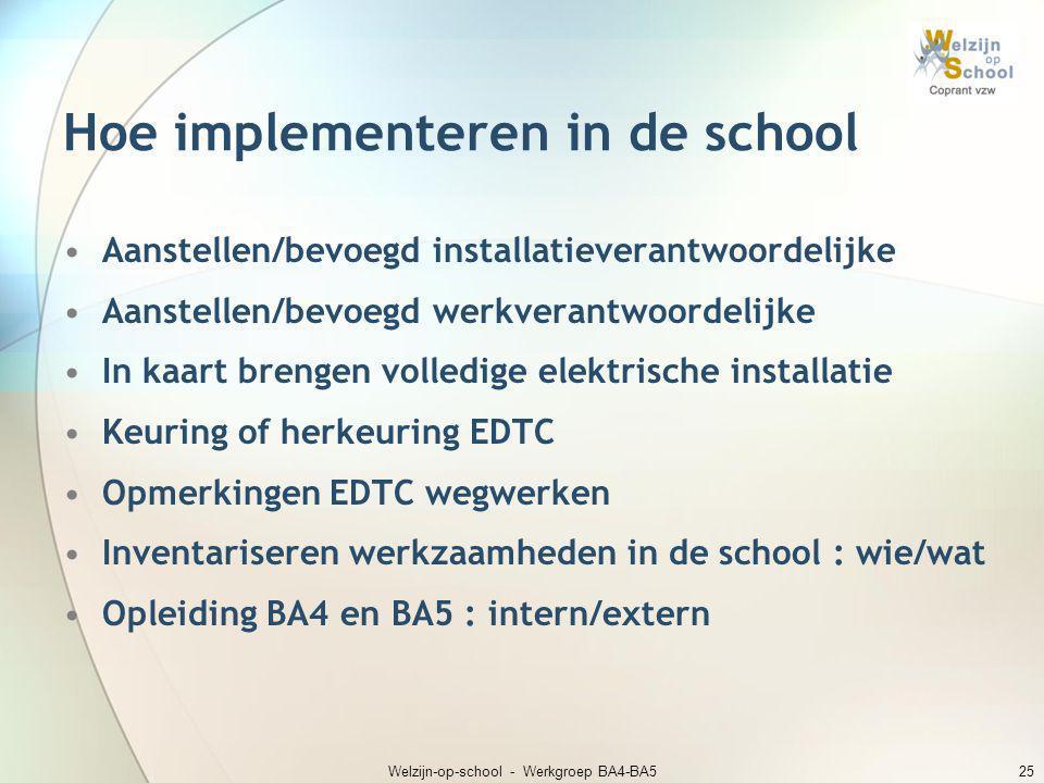 Welzijn-op-school - Werkgroep BA4-BA525 Hoe implementeren in de school •Aanstellen/bevoegd installatieverantwoordelijke •Aanstellen/bevoegd werkverant
