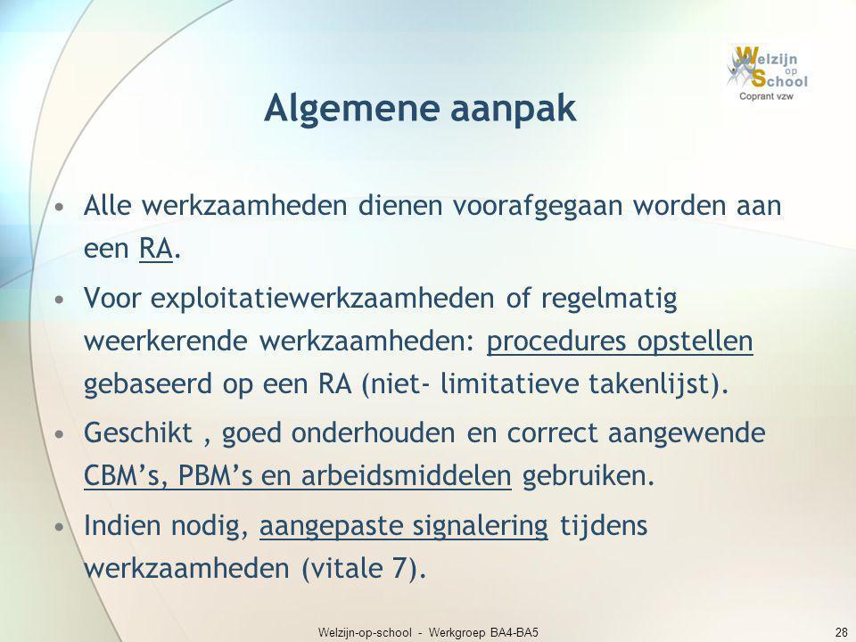 Welzijn-op-school - Werkgroep BA4-BA528 Algemene aanpak •Alle werkzaamheden dienen voorafgegaan worden aan een RA. •Voor exploitatiewerkzaamheden of r