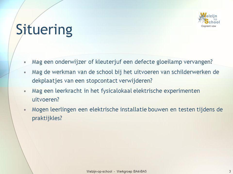 Welzijn-op-school - Werkgroep BA4-BA53 Situering •Mag een onderwijzer of kleuterjuf een defecte gloeilamp vervangen? •Mag de werkman van de school bij