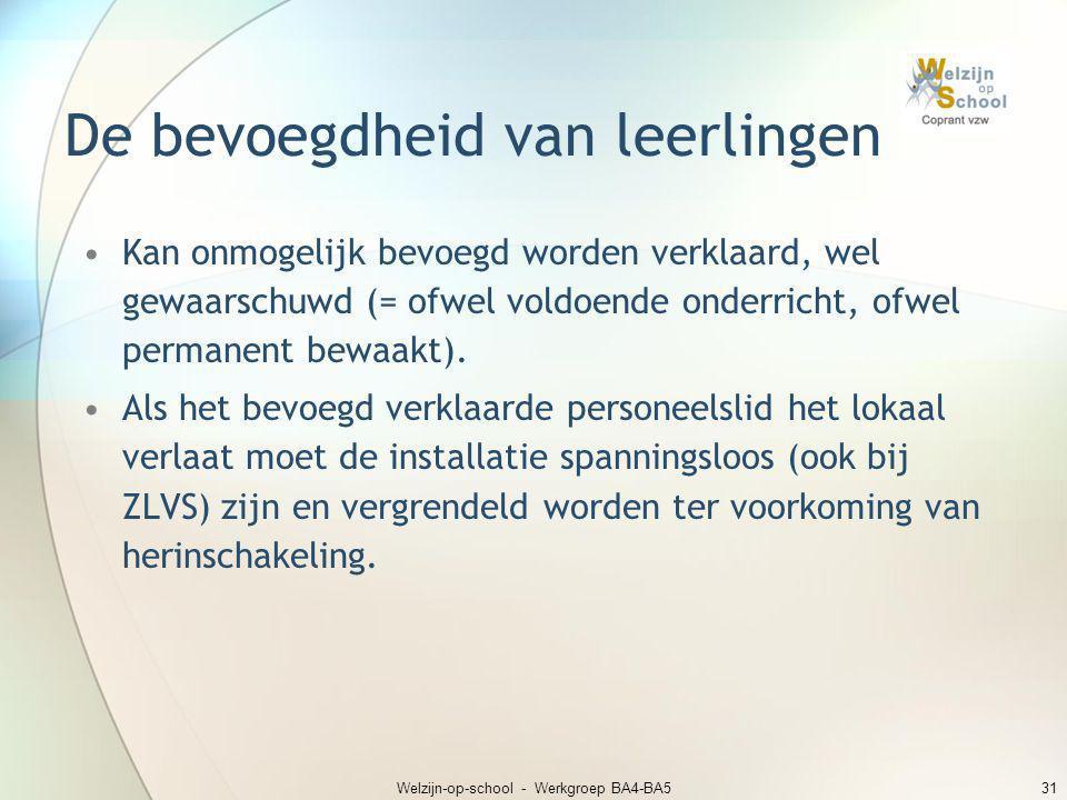 Welzijn-op-school - Werkgroep BA4-BA531 De bevoegdheid van leerlingen •Kan onmogelijk bevoegd worden verklaard, wel gewaarschuwd (= ofwel voldoende on