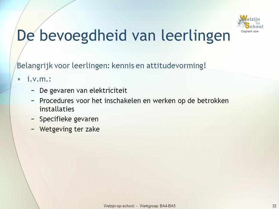 Welzijn-op-school - Werkgroep BA4-BA532 De bevoegdheid van leerlingen Belangrijk voor leerlingen: kennis en attitudevorming! •i.v.m.: −De gevaren van