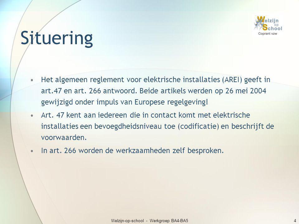 Welzijn-op-school - Werkgroep BA4-BA54 Situering •Het algemeen reglement voor elektrische installaties (AREI) geeft in art.47 en art. 266 antwoord. Be