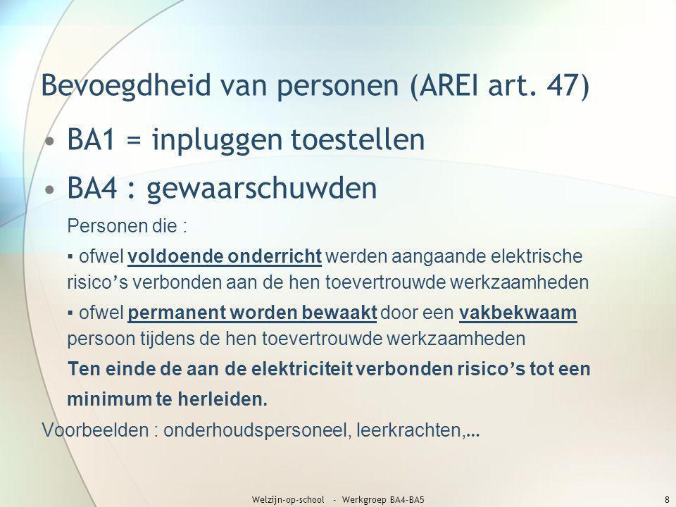 Bevoegdheid van personen (AREI art. 47) •BA1 = inpluggen toestellen •BA4 : gewaarschuwden Personen die : ▪ ofwel voldoende onderricht werden aangaande