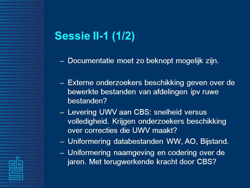 Sessie II-1 (1/2) –Documentatie moet zo beknopt mogelijk zijn.