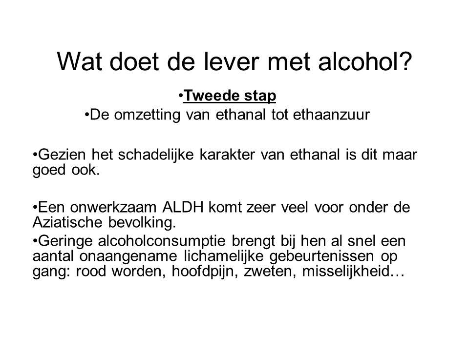 Wat doet de lever met alcohol? •Tweede stap •De omzetting van ethanal tot ethaanzuur •Gezien het schadelijke karakter van ethanal is dit maar goed ook