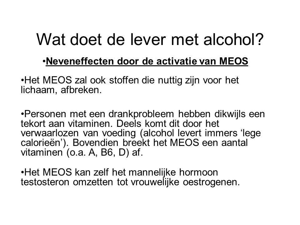 Wat doet de lever met alcohol? •Neveneffecten door de activatie van MEOS •Het MEOS zal ook stoffen die nuttig zijn voor het lichaam, afbreken. •Person