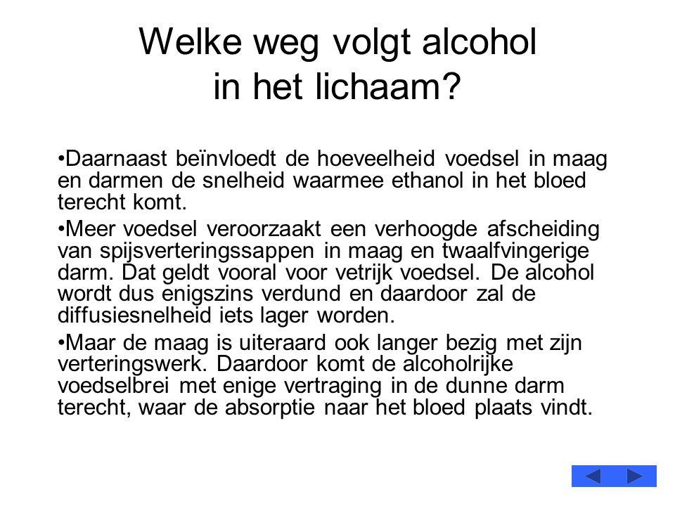 Welke weg volgt alcohol in het lichaam? •Daarnaast beïnvloedt de hoeveelheid voedsel in maag en darmen de snelheid waarmee ethanol in het bloed terech