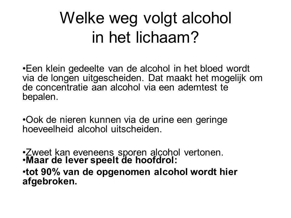 Welke weg volgt alcohol in het lichaam? •Een klein gedeelte van de alcohol in het bloed wordt via de longen uitgescheiden. Dat maakt het mogelijk om d