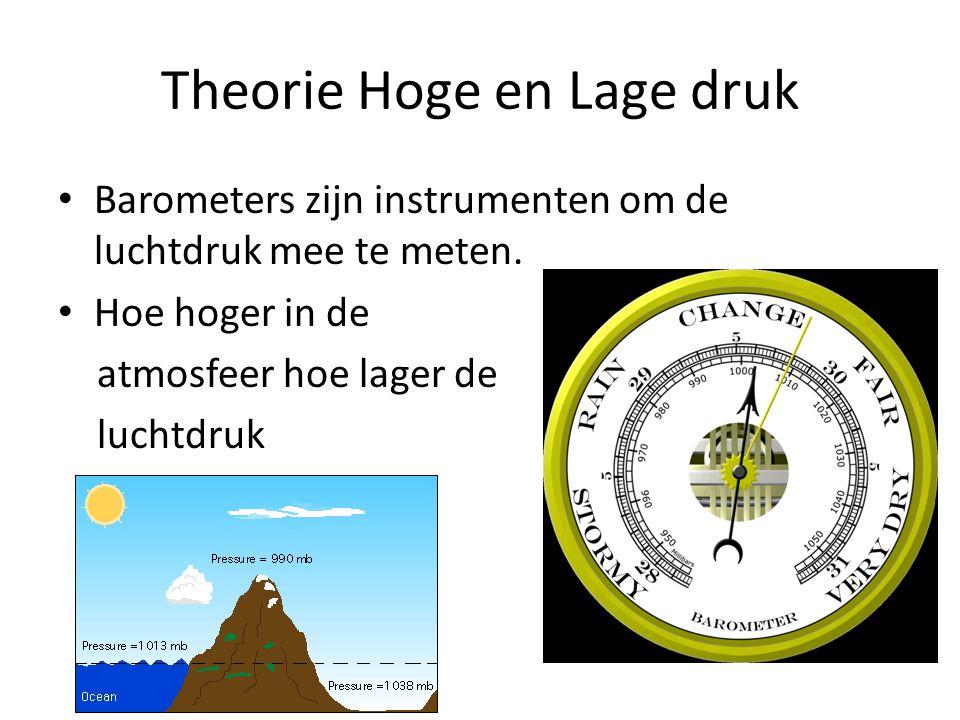 Theorie Hoge en Lage druk • Barometers zijn instrumenten om de luchtdruk mee te meten. • Hoe hoger in de atmosfeer hoe lager de luchtdruk