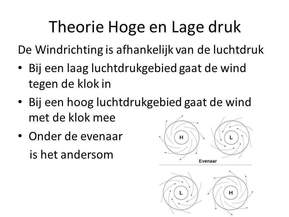 Theorie Hoge en Lage druk De Windrichting is afhankelijk van de luchtdruk • Bij een laag luchtdrukgebied gaat de wind tegen de klok in • Bij een hoog