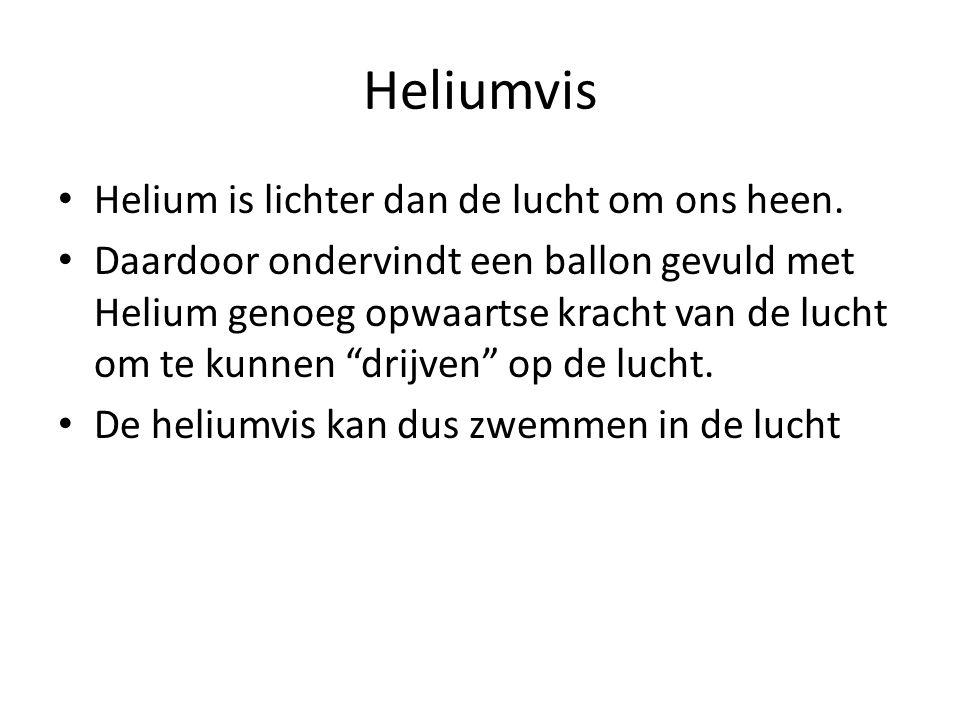 Heliumvis • Helium is lichter dan de lucht om ons heen. • Daardoor ondervindt een ballon gevuld met Helium genoeg opwaartse kracht van de lucht om te