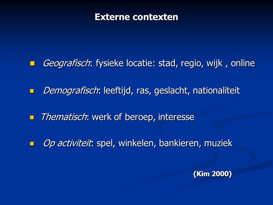 Externe contexten  Geografisch: fysieke locatie: stad, regio, wijk, online  Demografisch: leeftijd, ras, geslacht, nationaliteit  Thematisch: werk