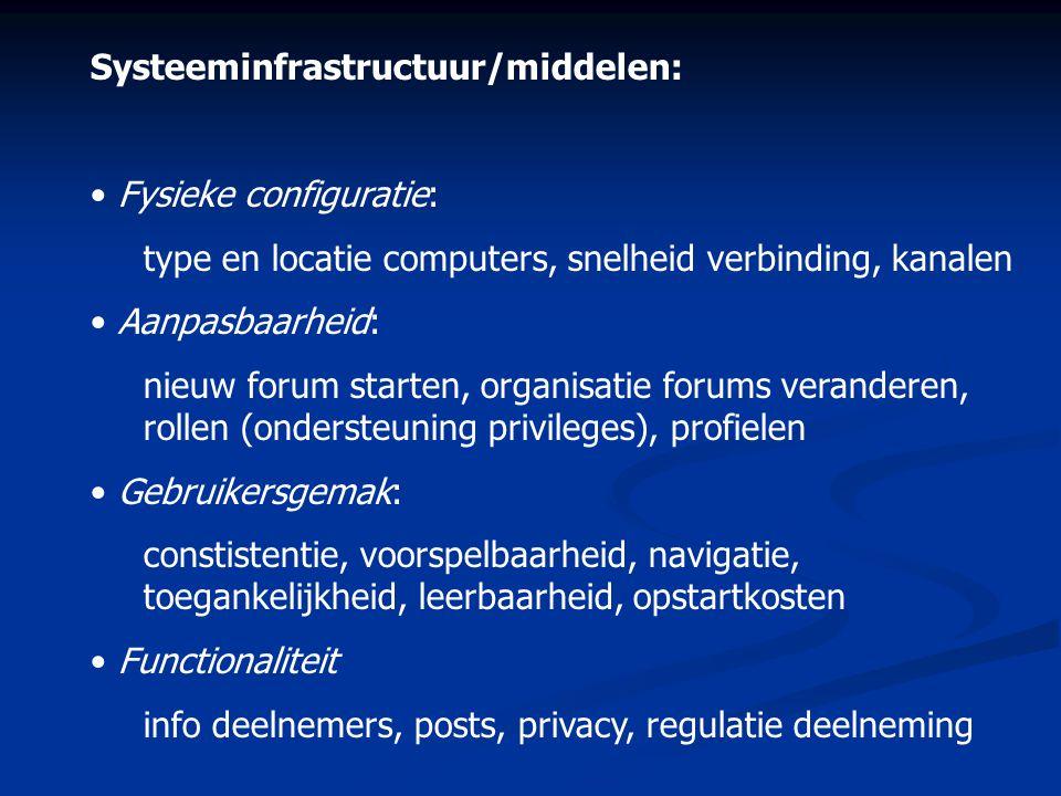 Systeeminfrastructuur/middelen: • Fysieke configuratie: type en locatie computers, snelheid verbinding, kanalen • Aanpasbaarheid: nieuw forum starten,