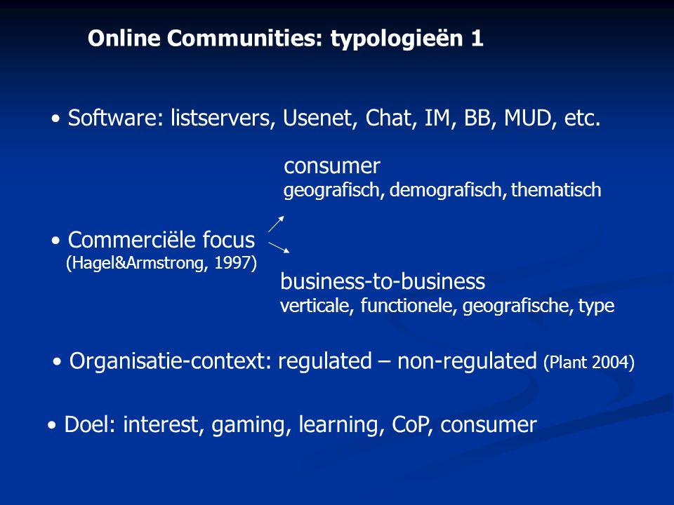 Online Communities: typologieën 1 • Software: listservers, Usenet, Chat, IM, BB, MUD, etc. • Commerciële focus (Hagel&Armstrong, 1997) consumer geogra
