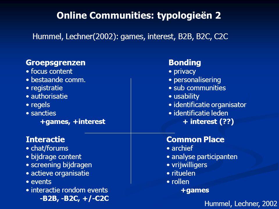 Online Communities: typologieën 2 Groepsgrenzen • focus content • bestaande comm. • registratie • authorisatie • regels • sancties +games, +interest I