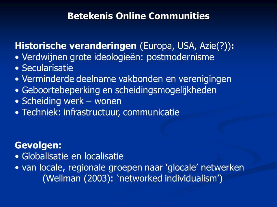 Betekenis Online Communities Historische veranderingen (Europa, USA, Azie(?)): • Verdwijnen grote ideologieën: postmodernisme • Secularisatie • Vermin