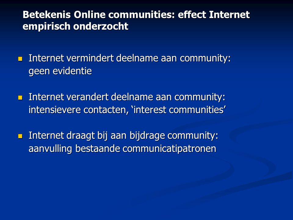 Betekenis Online communities: effect Internet empirisch onderzocht  Internet vermindert deelname aan community: geen evidentie  Internet verandert d