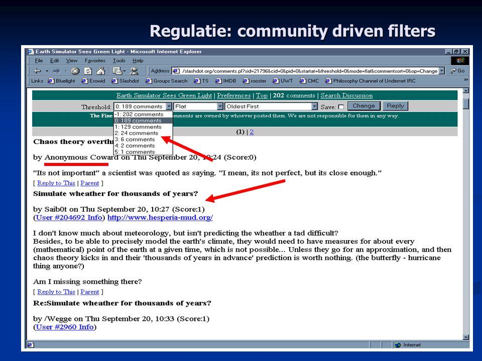 Regulatie: community driven filters