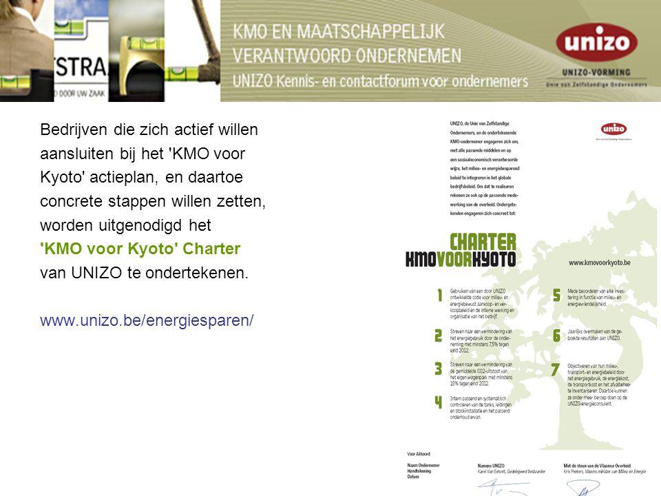 Bedrijven die zich actief willen aansluiten bij het KMO voor Kyoto actieplan, en daartoe concrete stappen willen zetten, worden uitgenodigd het KMO voor Kyoto Charter van UNIZO te ondertekenen.