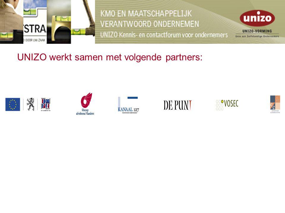UNIZO werkt samen met volgende partners: